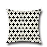 Kissenbezüge IHRKleid® Schwarz-weiß Kissen Kissenbezug Geometrie Cross Pfeil Wave Dot-Punkt Bettwäsche Cushion Cover 45*45 cm (Style 15)