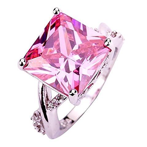 YAZILIND Pink Stone Ring Bridal Wedding Stainless Steel Rhinestone Band Jewelry For Women Size8