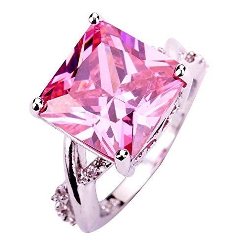 YAZILIND Rosa Stein-Ring-Brauthochzeits-Edelstahlrhinestone-Band-Schmucksachen für Frauen Size8 (Rosa Edelstein Ring)