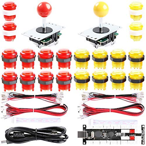 Easyget 2-Player DIY Arcade Kit Zero Delay 2-Player USB Encoder + 2X Joystick + 20x LED Arcade Buttons for PC, Windows, MAME, Mac & Raspberry Pi Retro Gaming DIY (Red & Yellow)