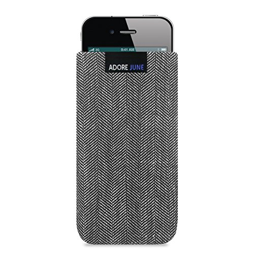 Adore June Business Tasche für Apple iPhone 4 / 4s Handytasche aus charakteristischem Fischgrat Stoff - Grau / Schwarz   Schutztasche Zubehör mit Display Reinigungs-Effekt   Made in Europe