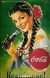 Affiche métallique avec reanimese metal plaque publicitaire rétro coca cola