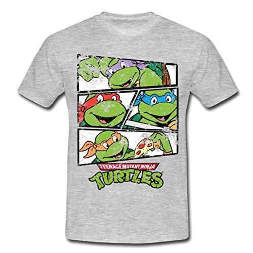 Spreadshirt TMNT Turtles Raphael Donatello Leonardo Michelangelo Männer T-Shirt, L, Grau Meliert