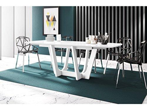 H MEUBLE Table A Manger Design Extensible 160÷256 CM X P : 89 CM X H: 75 CM – Blanc