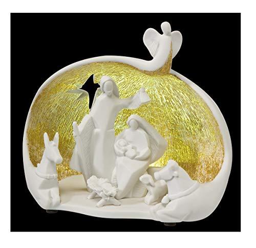 Goebel Nadal NATI Activities Belén | Enchanted Night 20000811 con iluminación, Oro Blanco poliresina 20 x 17 cm