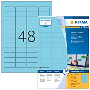 Herma cm Coloured Labels (45.7 x 21.2 mm Matt Paper A4 100 Sheets Self-Adhesive) 4,800 Sheets, Blue