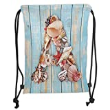 Trsdshorts Letter A,Letter A with Seashells on Pale Wooden Board Invertebrates Animal Decorative,Pale Blue Ivory Dark Coral Soft Satin,5 Liter Capacity,Adjustable St
