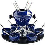 Kitchen - VonShef 23pc Rotating Enamelled Cast Iron Fondue Gift Set with 6 Forks & Bowls - FREE 2 Year Warranty - 1.3L capacity