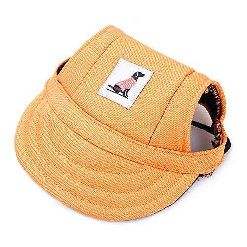 KDSANSO Hundemützen, Welpenmütze für Kleine Hunde Visier Design Mode Hunde Baseball Sonnenhüte Sportkappe mit Ohrmuscheln und Kinnriemen für Welpen Chihuahua Teddy Mops Ankleiden (Orange ()