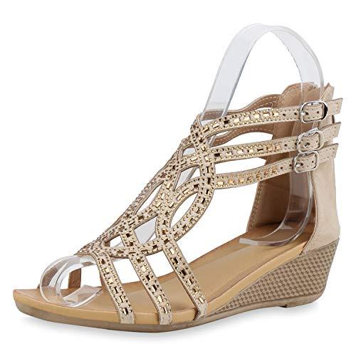 SCARPE VITA Damen Sandaletten Leder-Optik Keilsandaletten Strass Cut-Outs Schuhe Keilabsatz Freizeitschuhe Elegante 182601 Beige Strass 38