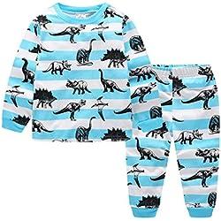 Pijamas largo los niños dos piezas de dinosaurios para de algodón 100% Tamaño 7 años