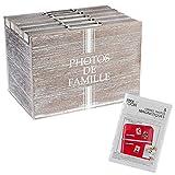 Silley Aufbewahrungsbox 120Fotos + 3Bilderrahmen Magnetische–Modell Kampagne–Album Fotos im Format 10x 15cm–Farbe Holz Gebleicht