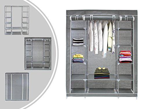 Leogreen - Stoffschrank, Faltbarer Camping-Kleiderschrank, 3 Türen, 172 x 134 x 43 cm, Grau, Material: Kunststoffrohrverbinder