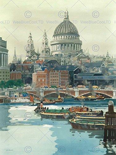 PAINTING THAMES BOATS LONDON ST PAULS BRIDGES RIVER ART PRINT POSTER BB8793
