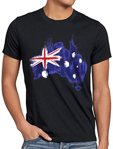 CottonCloud Flagge Australien Herren T-Shirt Fußball Sport Australia WM EM Fahne, Größe:XXL, Farbe:Schwarz