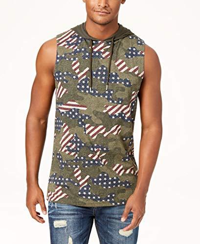 American Rag Men Small Camo Flag Print Hoodie Tank Top -