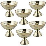 ensemble de 6 lampe à huile en laiton puja indien main - conception lampe diya gravé - 5.1 x 6.4 x 6.4 cm