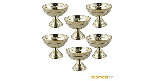 lampe /à huile en laiton puja indien Ensemble de 6 5,6 x 5,6 x 5,1 cm diya lampe /à m/èche laiton lanterne lumi/ère de nuit mini-lampe