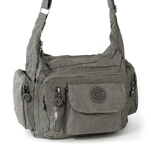Bag Street Umhängetasche Bodybag Nylon, Grau, Mittel