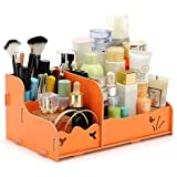 drasawee Creative Coloful Moda Madera DIY cosméticos caja de almacenamiento grande Lovely Make Up Soporte Escritorio Jewelry–Contenedor de belleza, Naranja, talla única