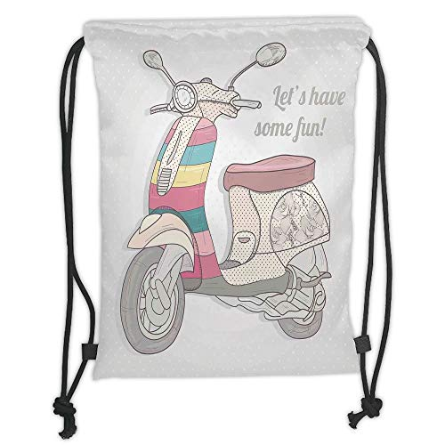LULUZXOA Gym Bag Printed Drawstring Sack Backpacks Bags,Motorcycle,Vintage Scooter in Pale Soft Colored Illustration Outside Transportation No Traffic,Multi Soft Satin