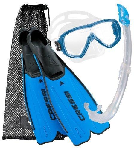 Cressi Adult Rondinella - Juego de aletas, gafas de buceo y snorkel Blue, w/Bag Talla:39/40
