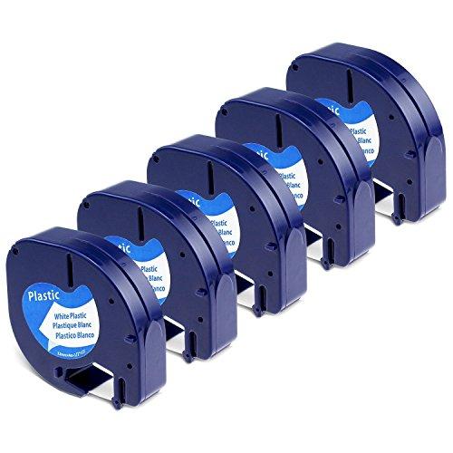 5x Kompatibel Dymo Letratag Etikettenband für LT-100H LT-100T XR, Kunststoff Letratag Etiketten Schriftband 91221/S0721660 schwarz auf weiß (Dymo Letratag Plastic black on white) 12mm x 4m