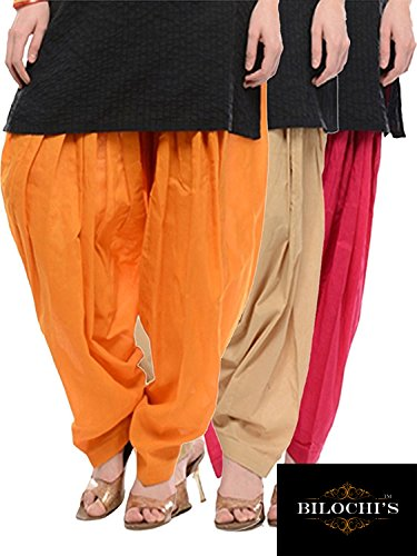 BILOCHI'S Orange, Beige And Rani Pink Pure Cotton Patialas in a Combo...