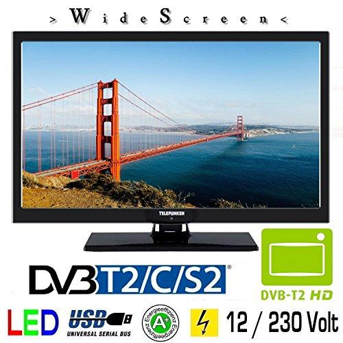 Telefunken L22F272K4V LED Fernseher 22 Zoll 55 cm TV DVB-S/S2, DVB-T2, DVB-C, USB, Energieeffizienzklasse A + , 230 Volt / 12 Volt