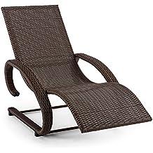 Blumfeldt Daybreak Tumbona mecedora Lounge exterior (sillón ergonómico marrón, armazón aluminio, superficie reposo mimbre, apto hasta 100kg, suave balanceo, reposabrazos, resistente intemperie)