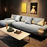 J-Kissen Reversible Sofa Cover, Gesteppte Couch Abdeckung rechteckige Möbel-Schutz-Husse for Haustiere Anti-Rutsch-Sofa Kissenüberzüge (Color : Blue, Size : 110x240cm(43x94inch))