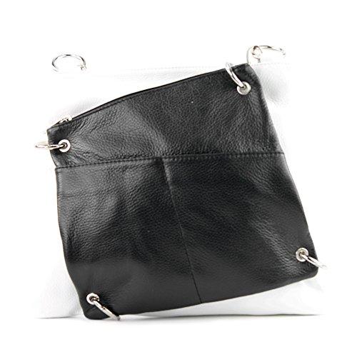modamoda de - ital. Ledertasche Damentasche Messengertasche Umhängetasche 2in1 Leder T140 Weiß/Schwarz