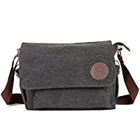 W.Best Wellington Style Retro Mens Canvas Leather Messenger Traval Shoulder Travel Hiking Camping Bag Coffee(003)