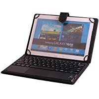 Universal 10'' Tablet Keyboard Leather Case, Samsung Galaxy Note 10.1 Keyboard Case, Synthetic Leather Cover with Bluetooth Keyboard (TOUCHPAD MOUSE) for Samsung Galaxy Note 10.1 (2014 Edition)