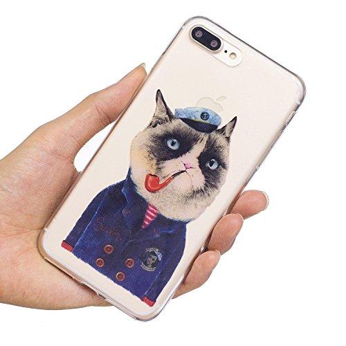iPhone 7 Plus Hülle, Voguecase Silikon Schutzhülle / Case / Cover / Hülle / TPU Gel Skin für Apple iPhone 7 Plus/iPhone 8 Plus 5.5(Pizza 01) + Gratis Universal Eingabestift Rohr Katze 01