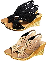 ZIAULA Womens And Girls Stylish Casual Wedges Heel Sandal Combo Pack