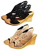#10: Ziaula Womens and Girls Stylish Casual Wedges Heel Sandal Combo Pack