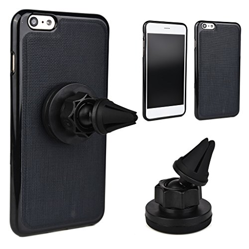 Kroo Étui universel de grille d'aération auto pour smartphone avec support magnétique solide pour Smartphone Apple iPhone 6Plus rouge - Rouge/noir noir - noir