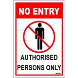 Clickforsign Authorised Persons Only Aluminum Sign Board For Walls And Doors (100X150Mm)