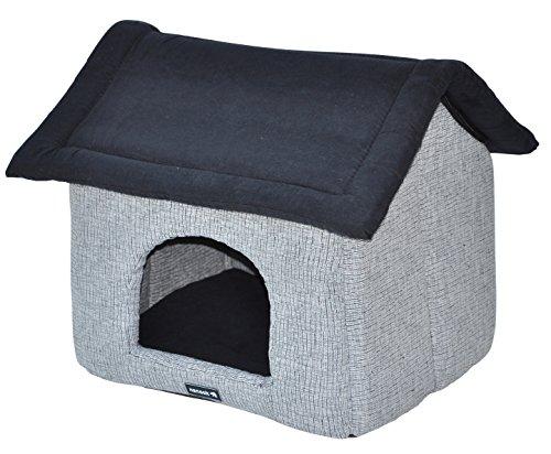 nanook Hundehöhle Katzenhöhle Woody, 44 cm , waschbar, weicher Schaumstoffboden, grau schwarz