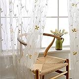EQEQ Silk Road Einfache Stickerei Gardinen, Moderne Dekorative Vorhänge für Wohnzimmer Balkon Schlafzimmer deckenhohen Fenstern - Weiß 350 x 270 cm (138 x 106 Zoll)