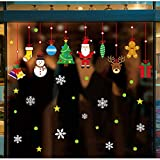 Extsud 2 Pcs Stickers Muraux Noël Autocollant Fenêtre Vitrine Vitre Étoile Floconde Neige Bonhomme de Neige Arbre de Noël Décoration de Noël Autocollant amovible pour le Nouvel An