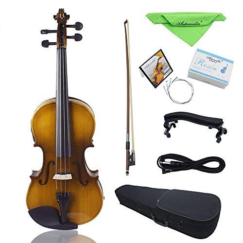 ammoon Elektrische Violine 4/4 Acoustic EQ Geige Kit Massivholz Fichte Gesicht Board mit Bogen Hard Case Schulterstütze Audio Kabel Kolophonium Extra Saiten Sauberes Tuch Retro Sonnenuntergang