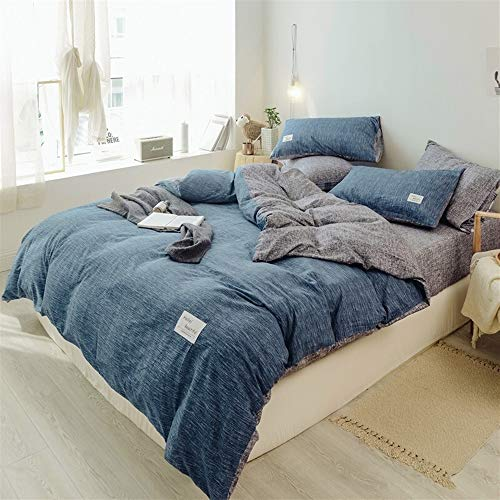 UOUL Bettwäscheset Aus Gewaschener Baumwolle 4-teilig Blaues Schlafzimmer Atmungsaktiv Einfarbig Kühl Komfortabel Jugenddoppel Einfach Voll,Navy Blue,King