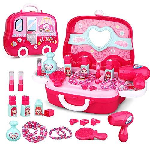 HERSITY Mallette de Maquillage Princesse Coiffure Jouets Cosmétiques Jeu de Rôle Cadeau pour Enfants Filles Rosa
