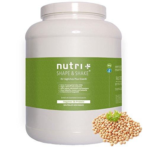 Nutri-Plus Shape & Shake Vegan Neutral 2kg - Veganes Eiweißpulver ohne Zusatzstoffe, Süßstoff, Laktose & Milcheiweiß - unflavoured 3k-Protein