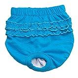 LHWY Haustier Kleider Hund Welpen physiologische Hosen Baumwolle Comfort Unterwäsche Lace Hose für Weiblichen Hund (M, Blau)