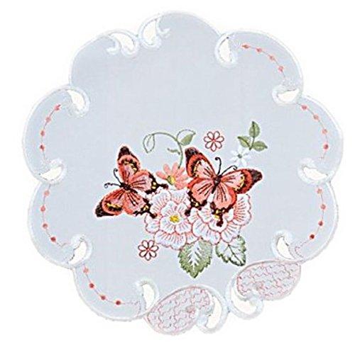 Raebel OHG Apolda Tischdecke 30 cm Rund Sekt Schmetterlinge Rot Bunt Gestickt Deckchen Frühling Sommer (30 cm)