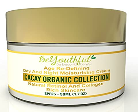 BeYouthful Cacay Oil Moisturiser Day And Night Cream For Face, Combination, Dry Even Oily Skin With Retinol, Collagen, Hyaluronic Acid, Vitamin C, E. Intensive Hydrating Anti Ageing, Anti Wrinkle Primer With SPF 25. Organic, Active, Natural Skincare for Men And Women. Paraben Free, Great Gift