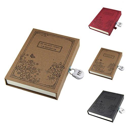 RayLineDo Brown Vintage Notizbuch Notizbuch A5 Notebook 80Gsm Gelegten 288 Seiten Mit Harte Geschenkbox Und Code Lock -